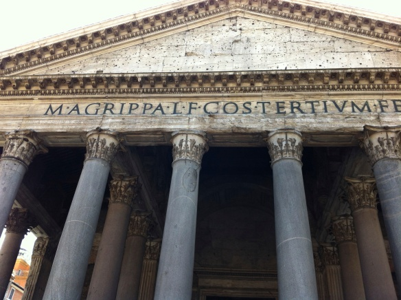 The Pantheon, a fabulous temple rebuilt by Hadrian in the 120's CE.  This is one of the best preserved ancient structures in the world!  The inscription on the front -- M AGRIPPA COS TERTIUM FECIT -- commemorates the original temple, built by the emperor Augustus' fleet admiral and (later) son-in-law Marcus Agrippa during his consulship in the year 33 C, or near the time when Jesus was executed in Jerusalem.