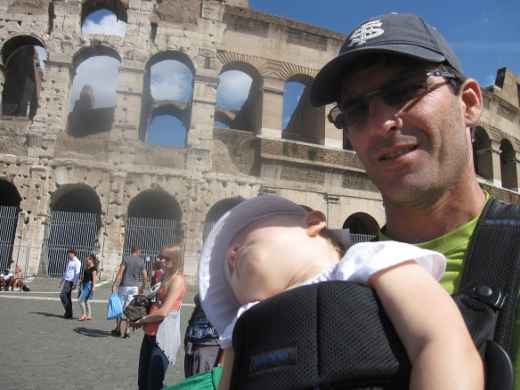 In front of the Colosseum; Fiona wasn't impressed.