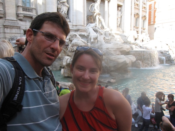 The Trevi Fountain. Toss a coin or two over your shoulder into the fountain to ensure your return to Rome.