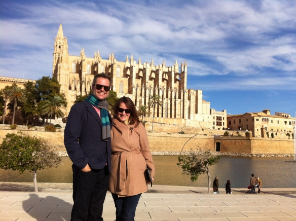Ken and me in front of the Cathedral of Santa Maria of Palma, more commonly referred to as La Seu