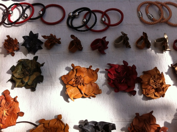 Leather bracelets, earrings and things. Cool, huh?
