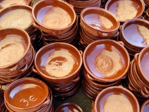 Do you have one of these clay bad boys in your kitchen? If not, get one post haste. You can chop up pretty much anything, throw it in one of these with a bit of salt, pepper and oil, bake for about 30 minutes and voila. Yummy goodness. Bless traditional Mallorquin crockery.